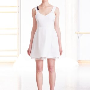 White cocktail dress with flared skirt and black strap detail