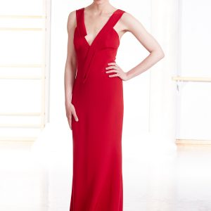 Red silk evening gown with low v-neck front and open back