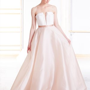 Long evening dress with white pleated bodice and full pink silk skirt