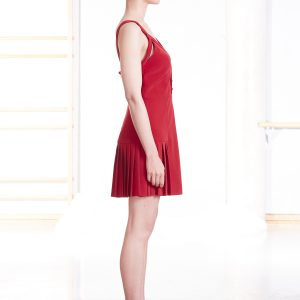 Pleated red cocktail dress