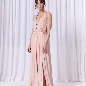 Grecian style chiffon evening dress in pale pink