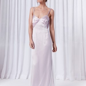 Long lilac silk slip gown with open back and tulle overlay
